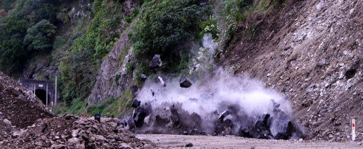 Blasting large rock